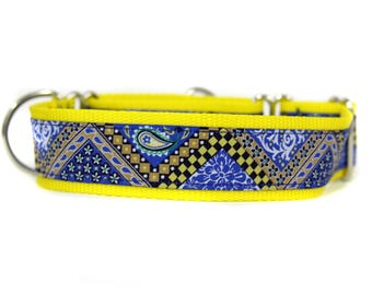Wide 1 1/2 inch Adjustable Buckle or Martingale Dog Collar in Blue and Yellow Paisley