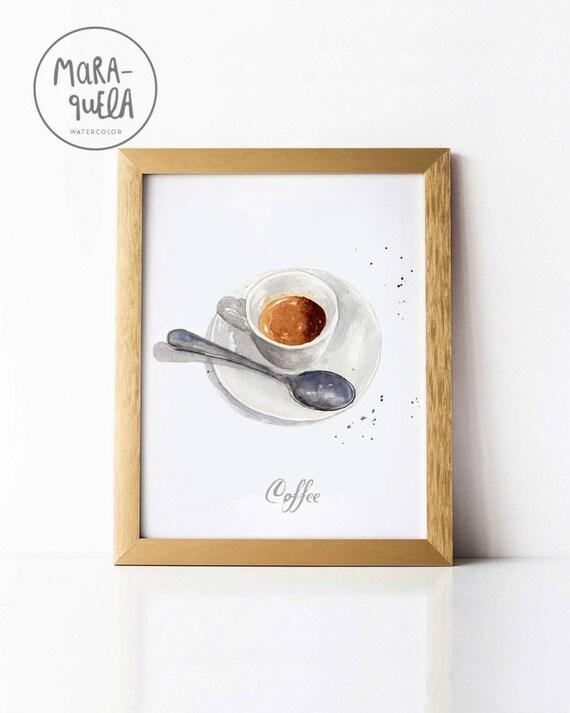 COFFEE illustration, Breakfast ,espresso cafe italiano. Decoracion cocina, kitchen decor
