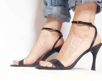 Brazilian made Ankle Wrapped Stiletto Sandals - in Black 'Croc' print leather