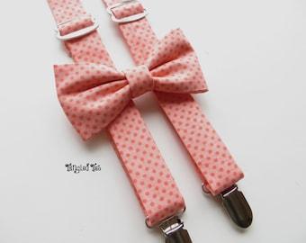 Custom Suspender Set, Bow Tie and Suspender Set, Coral Suspender Set for Children, You Choose Fabric
