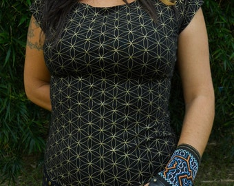 Large - Black and Gold Flower of Life Braided Top - Seed of Life - Sacred Geometry