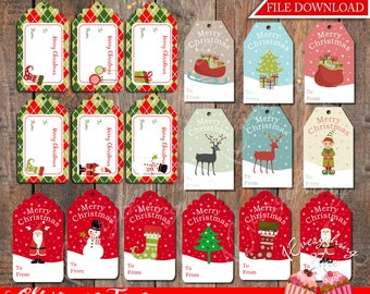 Merry Christmas Gift tags labels Instant Download Printable Files