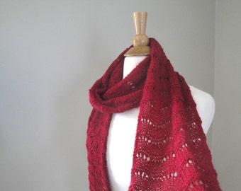 Strawberry Red Alpaca Scarf, Lightweight Lace, Hand Knit, Luxury Natural Fiber, Elegant Long Scarf, Women's Fashion