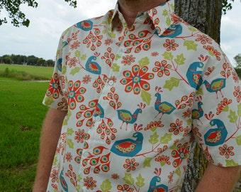 Men's Handmade Organic Cotton Button Down Dress Shirt - All Sizes - Orange Aqua Peacock - Pavoreal I871