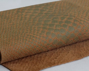 Snakeskin Texture Genuine Leather, Brown  and Green Leather ,