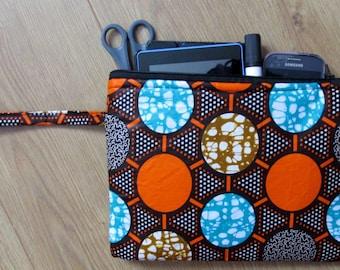 Africa Ankara padded wristlet purse evening phone iPad make-up bag - circles
