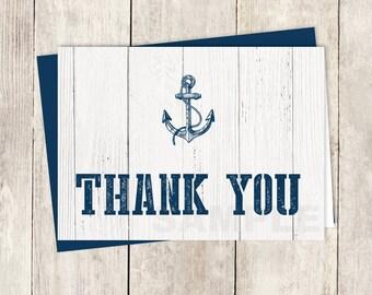 Nautical Thank You Card DIY / Navy Anchor, Nautical Planks, White Wood / Wedding Thank You Printable PDF ▷ Instant Download