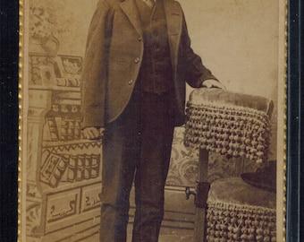 Antique CDV Unidentified Boy 1800s Figural Wearing a Suit