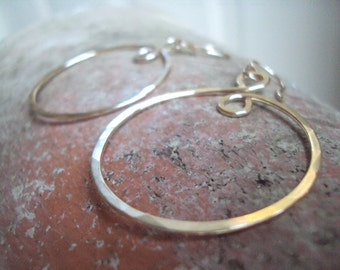 Gold Hoop Earrings, Hand Hammered Gold Jewelry, French Wires