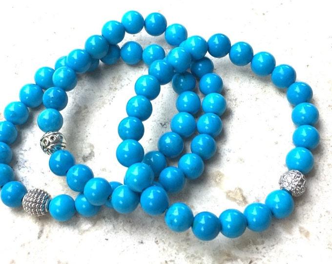 Turquoise Gemstone Bracelet- Turquoise Beaded Bracelet- 8mm Turquoise Bracelet- Stack Turquoise Bracelet- Friendship Bracelet- Graduation