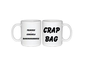 Set of Princess Consuela Bananahammock and Crap Bag Mugs - Printed On Both Sides - Friends TV Show Coffee Mug -  F.R.I.E.N.D.S - 048