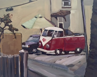 VW Bus oil painting painted in plein air