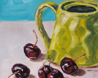 Still Life Fruit Painting - Original Oil Painting - Cherries and the Lime Teapot - 6 x 6
