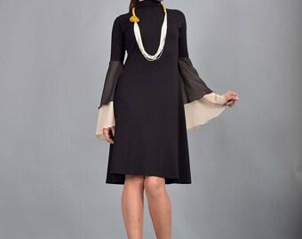 Little black dress, knee length dress, midi dress, woman dress, chiffon sleeves, A line dress, turtleneck dress, urbanmood, UM-220-VLCH