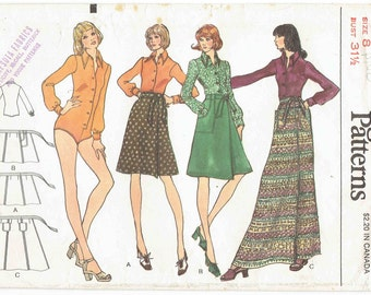 Vogue 70s Bodysuit and Wrap Skirt Pattern 8460. Button Front Bodysuit with Collar and Maxi or Knee Length Wrap Skirt. Size 8 Bust 31.5 in.