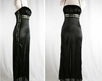 XS Sultry 70s Nightie - Black Halter Nightgown with Lace Inserts - 1970s Lingerie - Slinky Nylon & Lace - Size 0 - Bust 30 to 31 - 39902-1