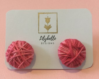 Pink Twine Button Earrings