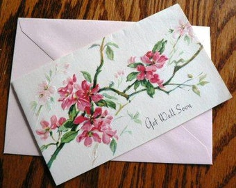 vintage cards ... GET WELL Soon floral retro CARD only ...