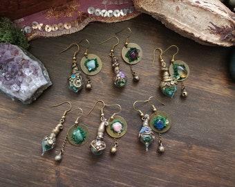 Fairy Earrings vials with seprecious stones