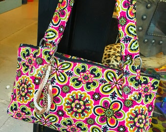 Pink Cotton Floral Print Baguette Bag, Amy Butler Retro Fabric Print Handbag, Purse