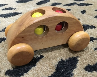 SALE - 1980s Vintage Wooden Car with Passengers