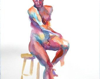 Original Watercolor Life Drawing, SALE! man, figure, stool, nude, frontal, wall art, unframed, home decor, hot colors, gift, 2D,Deep Thought