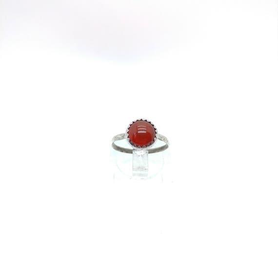 Carnelian Stone Ring | Sterling Silver Ring Sz 5 | Carnelian Ring | Carnelian Agate Ring | Red Stone Ring | Boho Ring | Gemstone Ring