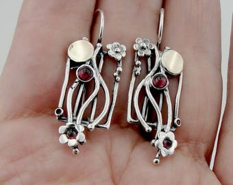 925 Long Garnet Earrings, Handmade 9K yellow Gold 925 Sterling Silver Garnet Earrings, Flower  Modern Earrings, Birthday Gift (ms 640