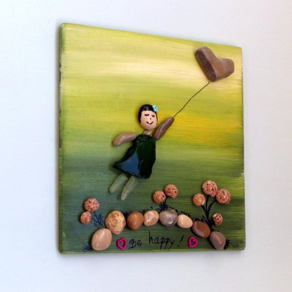 Be Happy Pebble Art / Stone Wall Art On Wooden Board 20x20cm /