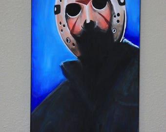 12x24 inch JASON VOORHEES raised canvas original horror painting