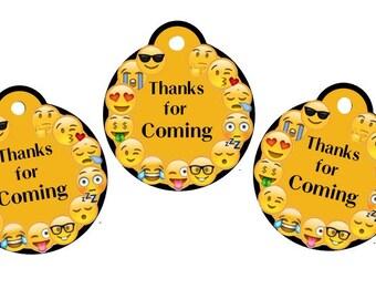 Emoji Thank You Tags, Emoji Tags, Birthday Party, Party Tags, Candy Tags, Thank You Tags