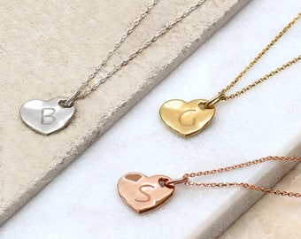 Precious Metal Personalised Hammered Heart Necklace (HBN76/98)