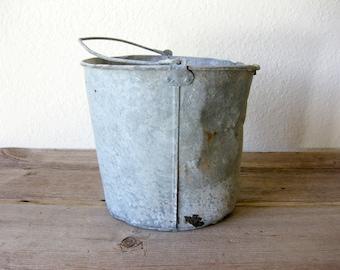 Vintage Galvanized Bucket ~ Rustic Bucket ~ Vintage Metal Bucket ~ Farm Bucket ~ Antique Metal Bucket ~ Pail