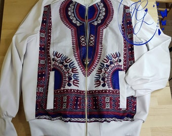 White dashiki bomber jacket
