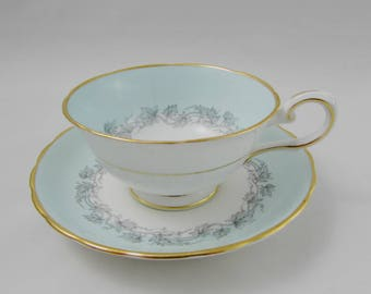 "Vintage Tuscan Tea Cup and Saucer, ""Aristocrat"" Pattern, Fine English Bone China"