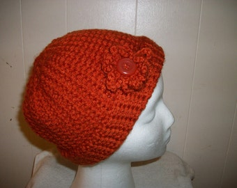Burnt Orange Crochet Hat with Removable Flower
