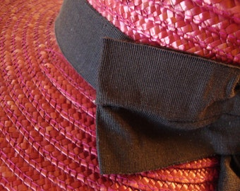 Made in Italy Raspberry Red Wide Brimmed Straw Hat