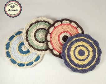 Crochet Coaster / Coasters / Crochet Coasters / Home Decor/ Flower Coasters / Gift for her / Table Coaster / Spring coaster/ organic cotton