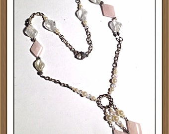 Handmade MWL rose quartz necklace. 0125