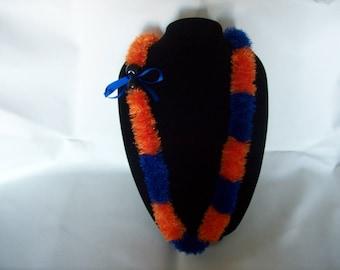 Orange and Royal Blue Eyelash Lei. Free 50 States Shipping.