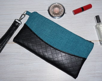 Teal and faux leather wristlet/clutch