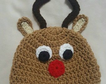 Crocheted Rudolph the ref nose reindeer hat
