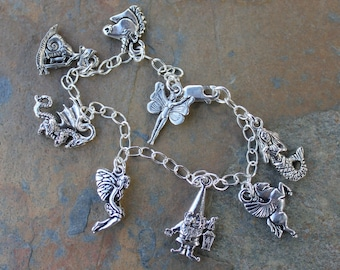 Magical Creatures Silver Charm Bracelet - gnome, unicorn, fairies, dragon, pegasus, mermaid - Free Shipping in USA