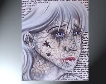 Painting Girl Shattering Original Artwork Size 16 x 20  Love Me Love Me Not