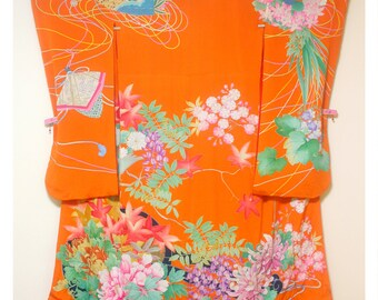 Hikaruhana - Antique Japanese Wedding Furisode Formal Women's Silk Kimono