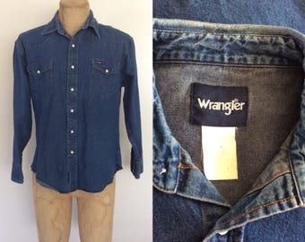 1970's Mens Denim Wrangler Pearl Snap Button Up Shirt Size Medium Large by Maeberry Vintage