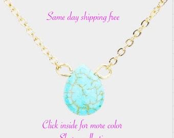 SEMI PRECIOUS NATURAL Stone  Teadrop Pendants  Necklace