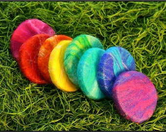 Rainbow felted mini kids guest soaps in Lavender scent/ 8 pack by luckyloulou