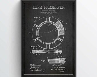 1902 Life Preserver Patent, Nautical Poster, Nautical Print, Patent Art Print, Patent Print, Home Decor, Gift Idea, NA21P
