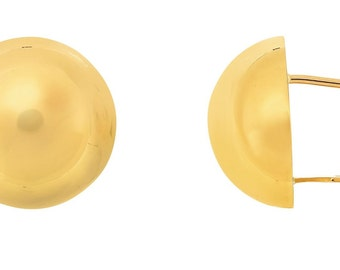 14kt Yellow Gold High Polished Semi Round Half Ball Fancy Earring